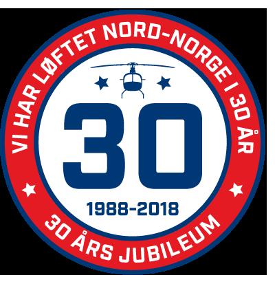 Logo for 30-års virke for Heli-Team